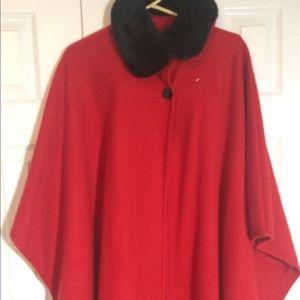 NWOT red cape coat long poncho fur trim